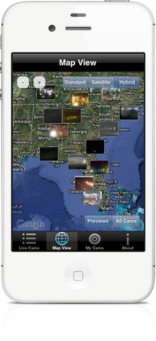 You can search and locate live webcams from all over the world on the map in World Live Cams app for iPhone, iPad, Android, Windows Phone smartphones and tablets  http://livecams.vinternete.com
