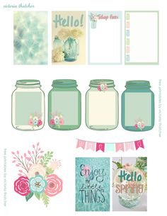 Free Spring printables for planners, happy mail or flipbooks. Cute mason jars and flower stickers. Perfect for Happy Planner, Erin Condren or Personal size Kate Spade, Filofax and Kikki K
