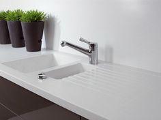 Solid Surface® Kitchen Worktop / Sink GETACORE® | 1 1/2 Bowl Sink