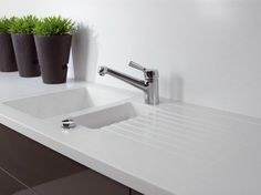 Solid Surface® kitchen worktop / sink GETACORE® | 1 1/2 bowl sink - GetaCore® by Westag & Getalit