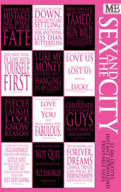 Sex and the City Signs, Carrie Bradshaw Quotes, Sex and the City Decorations,Sex and the City Party, Wall Art, Typography by MetroEvents on Etsy https://www.etsy.com/listing/223122888/sex-and-the-city-signs-carrie-bradshaw