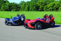 Part car, part motorcycle, the Polaris Slingshot is the inverted trike every kid dreams of. It comes in two trims. Polaris Slingshot, Microcar, Reverse Trike, Sweet Cars, Exotic Cars, Concept Cars, Hot Cars, Dream Cars, Cars And Motorcycles