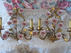PAIR! HUGE! Vintage Italian Tole Wall Sconces PINK Porcelain Roses ~ Antique Shabby Cottage Chic Gold Gilt Italy Toleware *Great Condition* by VintagetownUSA on Etsy