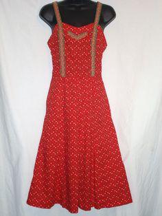 Elkont Vintage Red w Floral Print Dress Sleeveless Fully Lined Size S | eBay