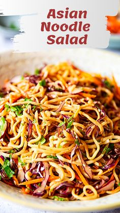 This Asian Noodle Salad with thinly sliced red cabbage, julienned carrots and radishes in spicy peanut dressing is ideal for a delicious work lunch. recipe salad Asian Noodle Salad with Spicy Peanut Dressing Asian Noodle Recipes, Asian Recipes, Chinese Recipes, Vegetarian Recipes, Cooking Recipes, Healthy Recipes, Healthy Lunches, Detox Recipes, Summer Recipes