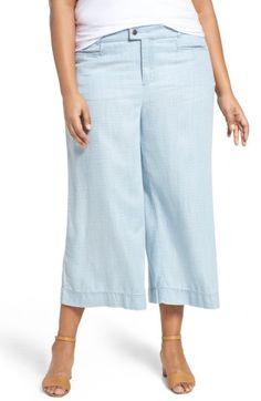 ac21cd03dce54 Foxcroft Pinstripe Denim Wide Leg Capri Pants (Plus Size)