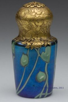 "Tiffany Favrile perfume with ormulu decorated lid, 4"" tall"