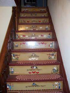 Folk Art Painted Stair Risers