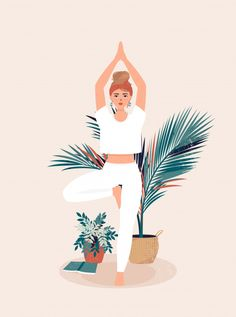 Blond Girl Who Practices Yoga In Tree Pose Surrounded By Pots Of Tropical Plants Yoga Cartoon, Cartoon Art, Illustration Photo, Digital Illustration, Yoga Tree Pose, Yoga Art, Art Girl, Art Paintings, Comic