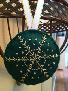 Gold and Green Snowflake Ornament