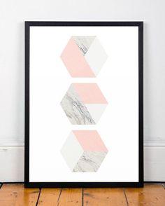 Hexagon print Geometric art Watercolor por ShopTempsModernes