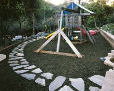 Playground Mulch From Old Tires...The Stones Look A Little Scary But The