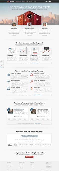 New Fundrise Homepage - 2013 web design inspiration