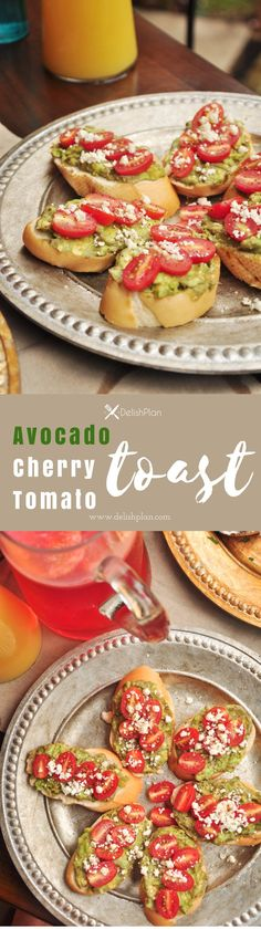 A delightful avocado toast topped with cherry tomatoes and queso fresco cheese! It makes a healthy breakfast or a great afternoon snack. Appetizer Recipes, Appetizers, Sweets Recipes, Free Recipes, Desserts, Healthy Finger Foods, Healthy Food, Tomatoes On Toast, Vegetarian Recipes Easy