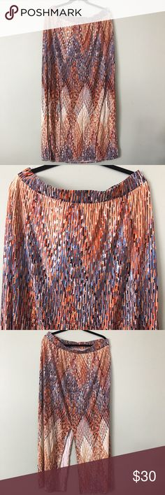 Lane Bryant Maxi Skirt / Size 18/20 Pretty colors. Fun slits up the sides. Lane Bryant Skirts Maxi