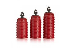 Rani 3 Piece Ceramic Canister Set in Red by American Atelier #AmericanAtelier