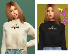 """neima sweater so, new preview style again haha because why not but i hope i'm gonna keep this one. annd ingame pics are back!! """"seven swatches custom thumbnail requires mesh! bonus! custom swatches credits: tumblr, puresims, simpliciaty (hair),..."""