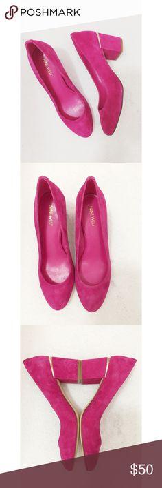 Nine West Suede Block Heels Nine West Suede Block Heels.  Hot pink leather suede.  Brand new never worn.  No box.  Women's size 10. Nine West Shoes Heels