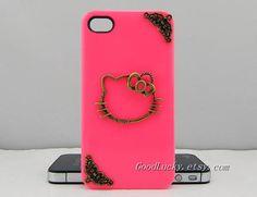 Iphone case,cute cat iphone case,paper cut for window decoration iphone case,studded iphone 4,5 case,bronze,pink Hard Cover Iphone 4,5 Case