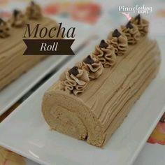Soft, spongy and fluffy Mocha Cake Mocha Roll Cake Recipe, Cake Roll Recipes, Mocha Recipe, Dessert Recipes, Chocolate Roll Cake, Chocolate Banana Muffins, Pinoy Cake Recipe, Mocha Cake Filipino Recipe, Goldilocks Mocha Cake Recipe