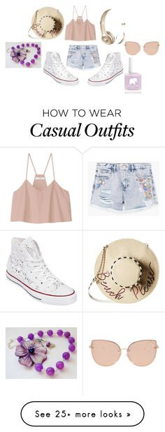 """Casual crochet"" by sophie-am on Polyvore featuring TIBI, MANGO, Converse, Betsey Johnson, Beats by Dr. Dre and Topshop"
