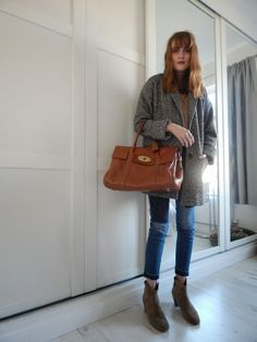 matalan grey boyfriend jacket, olive green zara blouse, hm patchwork jeans, isabel marant dicker boots, mulberry bayswater http://www.josies-journal.com/2014/02/patched-up.html