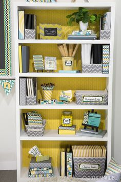 Brooklyn Classroom Decor - Give your #classroom a contemporary makeover with Brooklyn Décor and accessories! Geometric patterns and prints mixed with a simple color palette offer a hint of vintage flair and instantly add sophistication to any teaching space. #MardelClassroom