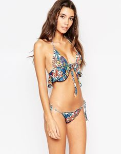 Image 3 ofASOS 70s Floral Print Frill Triangle Bikini Top