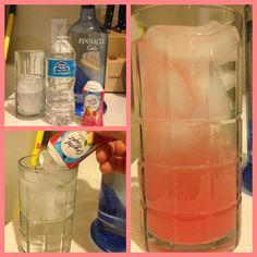 Hangover Free Cotton Candy Cocktail!! Fill up a glass with water, add a shot of cake flavored vodka then add two quick squirts of strawberry lemonade flavored liquid crystal light. I SWEAR by it. It tastes like liquid cotton candy and the best part is it's hangover free!