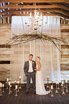 rustic vintage style wedding ceremony