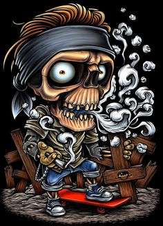 Winya No. 56 Art Print by winya Graffiti Art, Graffiti Drawing, Rauch Tattoo, Smal Tattoo, Aztecas Art, Dope Cartoon Art, Skull Pictures, Graffiti Characters, Garage Art