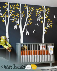 In Stock $153.00 www.wallconsilia.com  Creative and cute summer wall decoration with white birch trees, and yellow leaves, birds with birdhouses. Great addition to nursery. Indulge your little one's imagination with this stunning vinyl wall decal set perfect for any nursery or bedroom. We think it's a great choice for gender neutral nursery!  #DIY #Bedroom #Trees #Birdcages #Birds #GoGreen