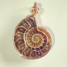 Ammonite fossil copper wire wrapped pendant by OnyxlyItsBeautiful