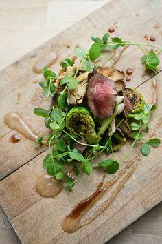 Seared Steak, maitake mushrooms and brussel sprouts with shoyu glaze  @ State Bird  via:  eatdrink+bemerry