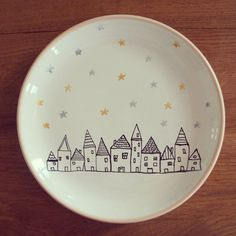 The village ceramic decorative plate The village ceramic decorative. The village ceramic decorative plate The village ceramic decorative plate Sharpie Plates, Sharpie Crafts, Sharpie Art, Sharpies, Ceramic Cafe, Ceramic Plates, Decorative Plates, Clay Plates, Painted Mugs