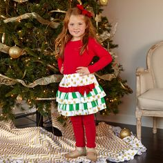 Classic green red & gold, precious for your little angel this Holiday season!