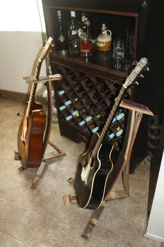 custom guitar stands out of wine barrels {very awesome!!}