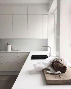 #Kitchen Design #Interior Design# white Kitchen Kitchen Interior, New Kitchen, Kitchen Ideas, Kitchen Furniture, Country Look, Narrow Kitchen, Scandinavian Kitchen, Minimalist Kitchen, Modern Kitchen Design
