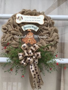 Hey, I found this really awesome Etsy listing at https://www.etsy.com/listing/231833077/dog-wreath-pet-wreath-burlap-pet-wreath