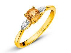 Pierścionek z żółtego złota z diamentami i cytrynem | Apart