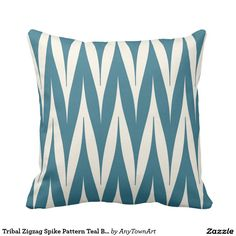 Tribal Zigzag Spike Pattern Teal Blue Throw Pillow