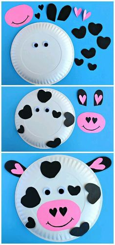 I love this cow craft. perfect for farm theme! Let's Learn S'more! I love this cow craft. Valentine's Day Crafts For Kids, Valentine Crafts For Kids, Daycare Crafts, Toddler Crafts, Preschool Crafts, Holiday Crafts, Art For Kids, Valentines Crafts For Kindergarten, Children Crafts