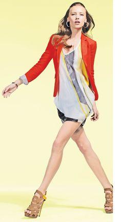 Intermix Spring 2012 Lookbook: Rag & Bone Jacket, Helmut Lang Top, Mason Leather Skirt, Giuseppe Zanotti Sandals