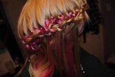 pink side french-braid