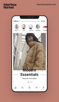 Fashion app homepage UI screen demo animation from Milan Fashion App UI Kit, 40 beautiful shopping mobile app UI templates and elements that help startups, agencies and designers create professional fashion app project in Sketch, Adobe XD Figma. #ui #ux #app #application #design #template #startup #business #designer #developer #agency #entrepreneur #shopping #fashion #clothing #brand #style #feminine #minimalism #uianimation #animation #video #product #appanimation #clothingapp #fashionapp Homepage Design, App Ui Design, Interface Design, Application Design, Mobile Application, Fashion Website Design, Mobile Ui Patterns, Mobile Web Design, App Design Inspiration