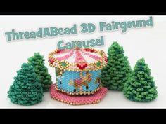 Carousel Fairground Ornament Pattern Bead Pattern By ThreadABead Seed Bead Patterns, Peyote Patterns, Jewelry Patterns, Beading Patterns, 3d Christmas Tree, Beaded Christmas Ornaments, Beaded Boxes, Beaded Purses, Seed Bead Crafts