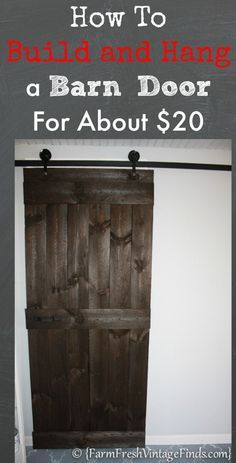closet doors in boys' room. ~mhi. How to Build and Hang a Barn Door for about $20