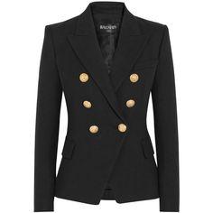Balmain Double-breasted basketweave cotton blazer ($2,175) ❤ liked on Polyvore featuring outerwear, jackets, blazers, black, peak lapel blazer, gold button blazer, double breasted jacket, balmain jacket and double-breasted blazer