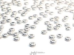 Smooth Rondelle Beads, Pewter Large Hole Beads, Antique Silver Metal Beads, 2x5mm, 2mm Large Hole, Lead Free, Lot Size 25 to 100, #1323 BH