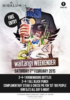 Waitangi Day Party at Gigalum, 7-8 cavendish parade, London, SW4 9DW, United Kingdom on February 07 at 6:00 pm - 11:55 pm, Price : Free, Gigalum's Waitangi Day Party, 2FOR1 KRONENBOURG BOTTLES, Artists : Kiwi DJ's, Category : Bars / Pubs | Bars.